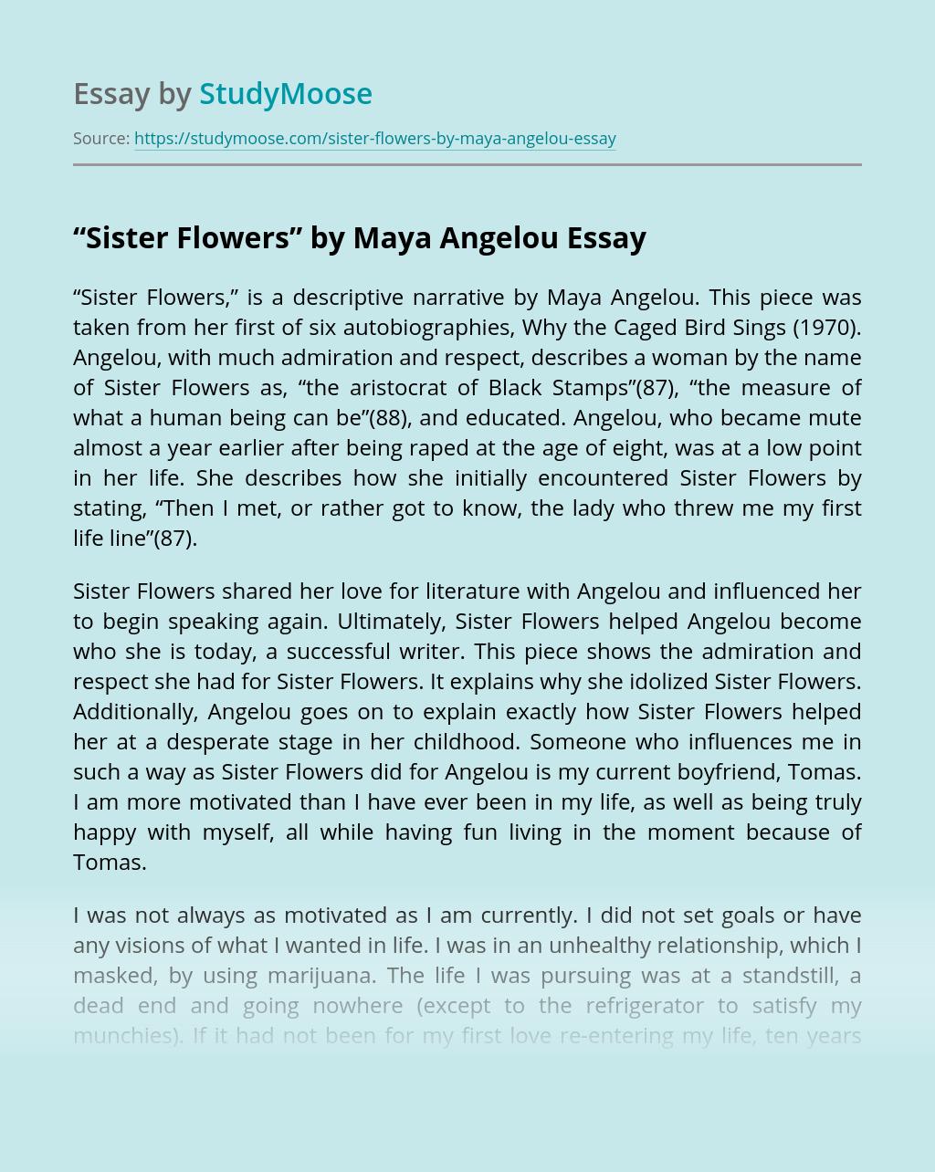 """""""Sister Flowers"""" by Maya Angelou"""