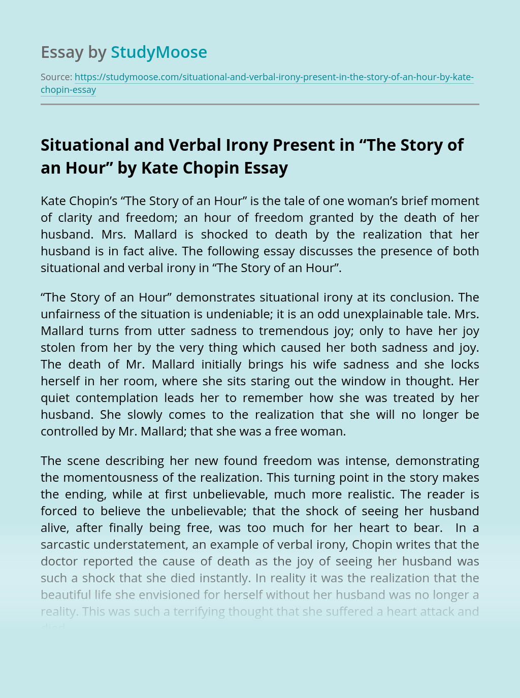 """Situational and Verbal Irony Present in """"The Story of an Hour"""" by Kate Chopin"""
