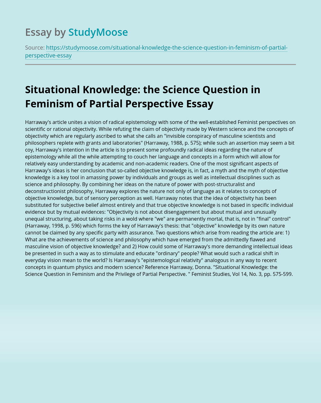 Situational Knowledge: the Science Question in Feminism  of Partial Perspective