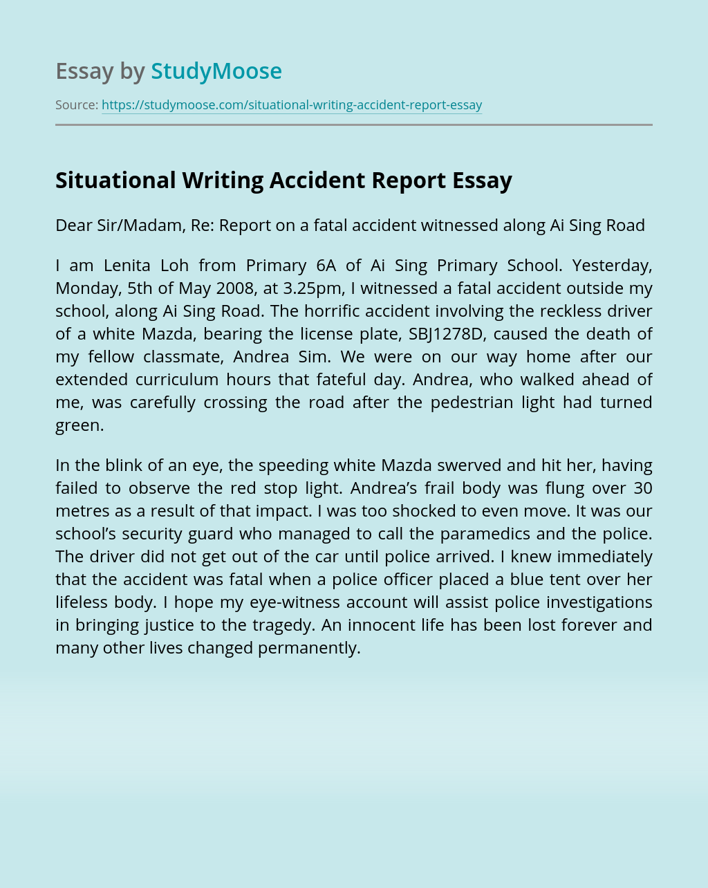 Situational Writing Accident Report