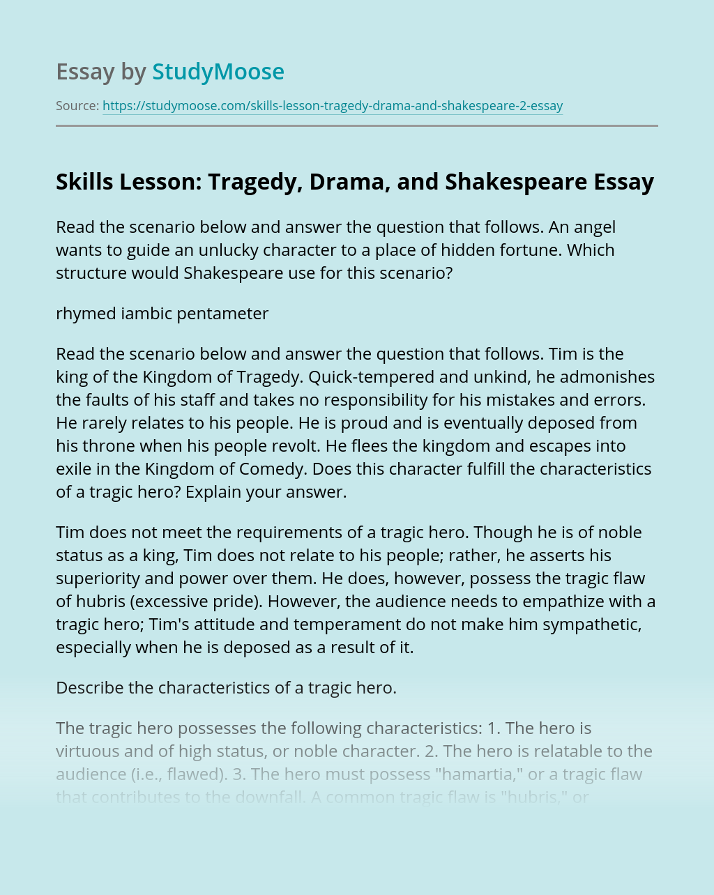 Skills Lesson: Tragedy, Drama, and Shakespeare