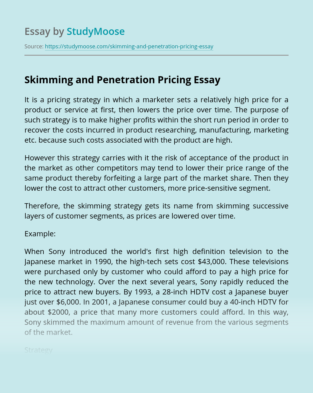 Skimming and Penetration Pricing