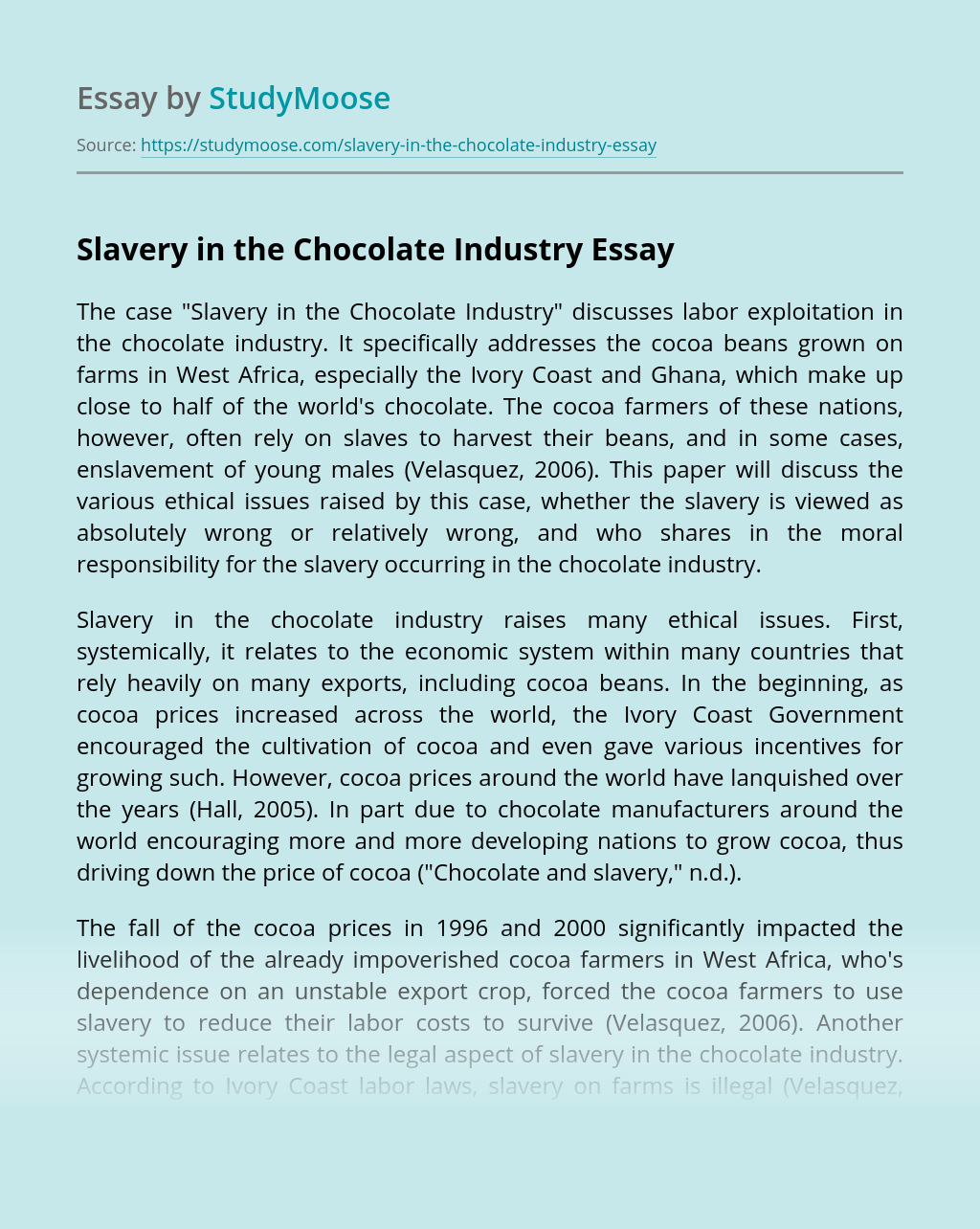 Slavery in the Chocolate Industry