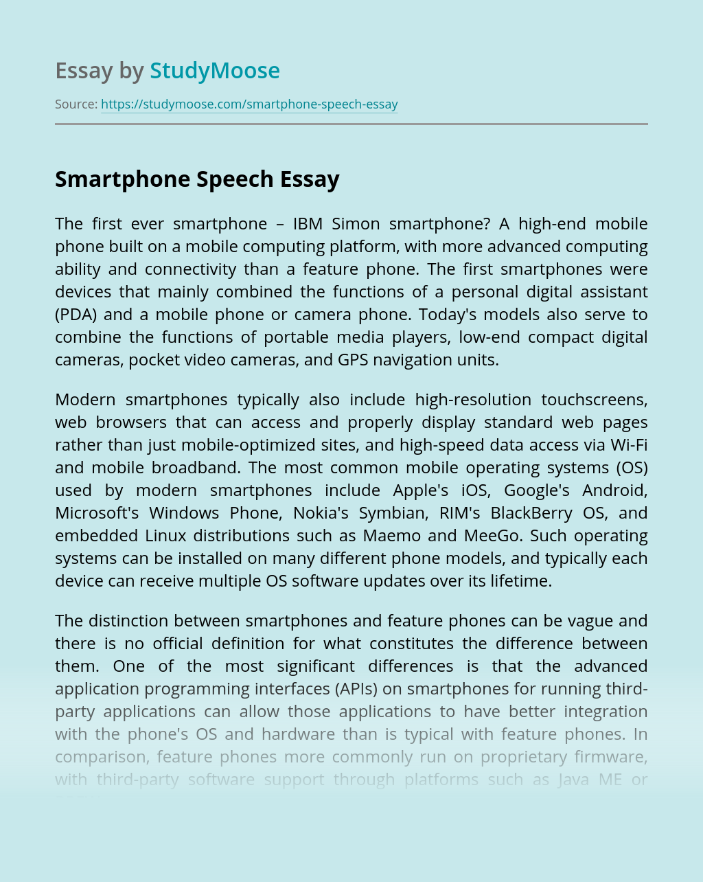 Smartphone Speech