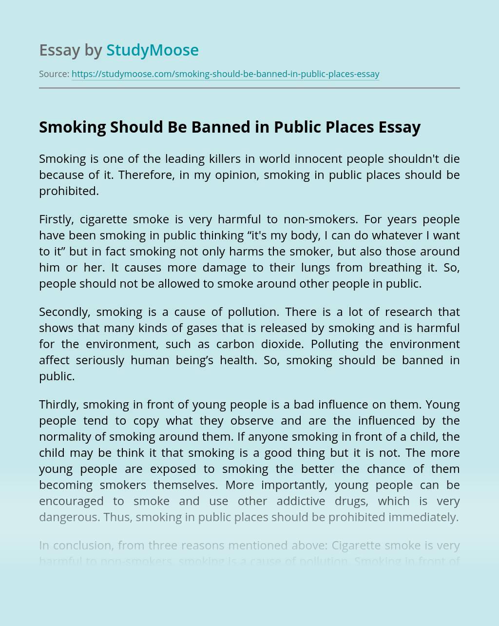 Should smoking be banned essay