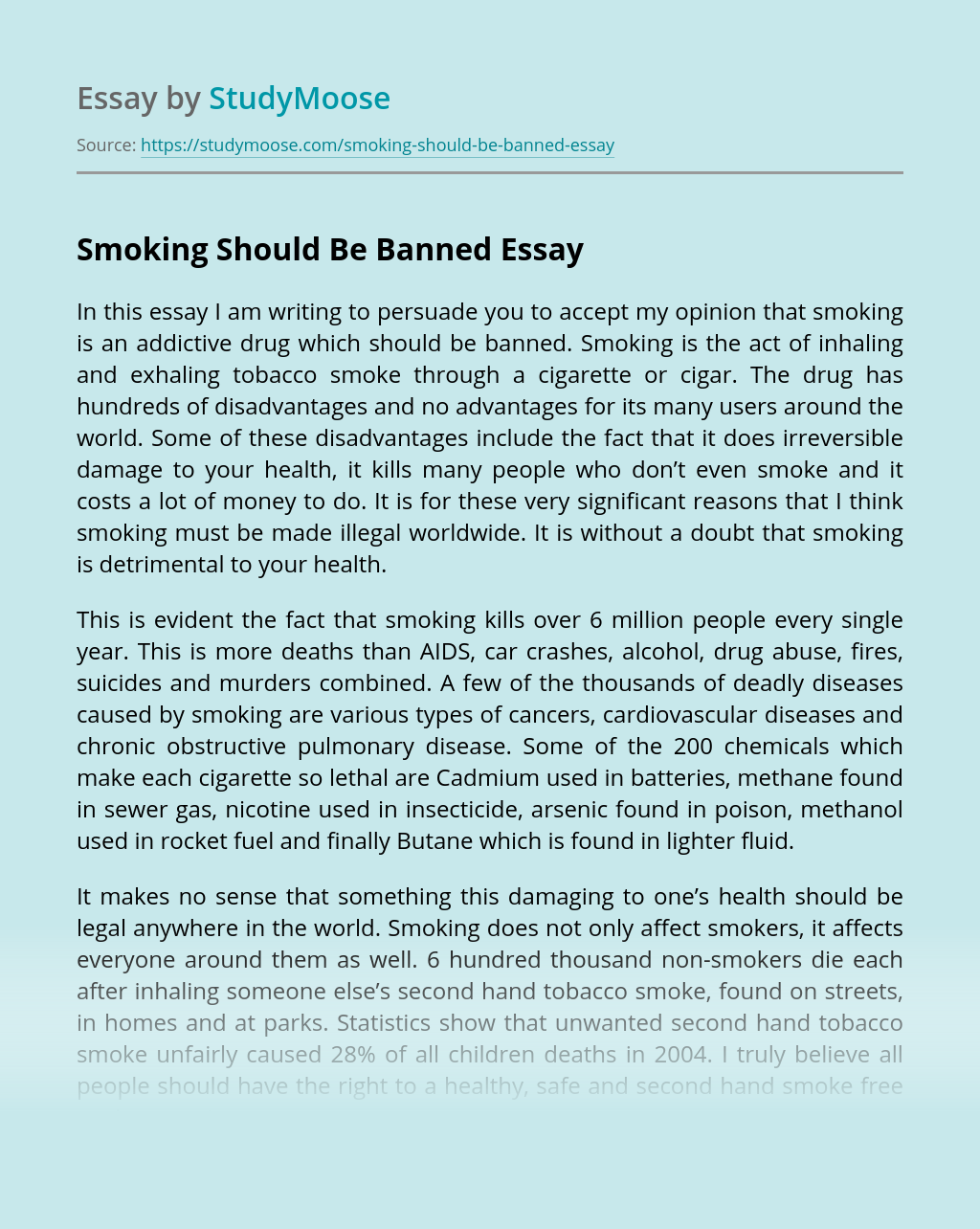Smoking Should Be Banned