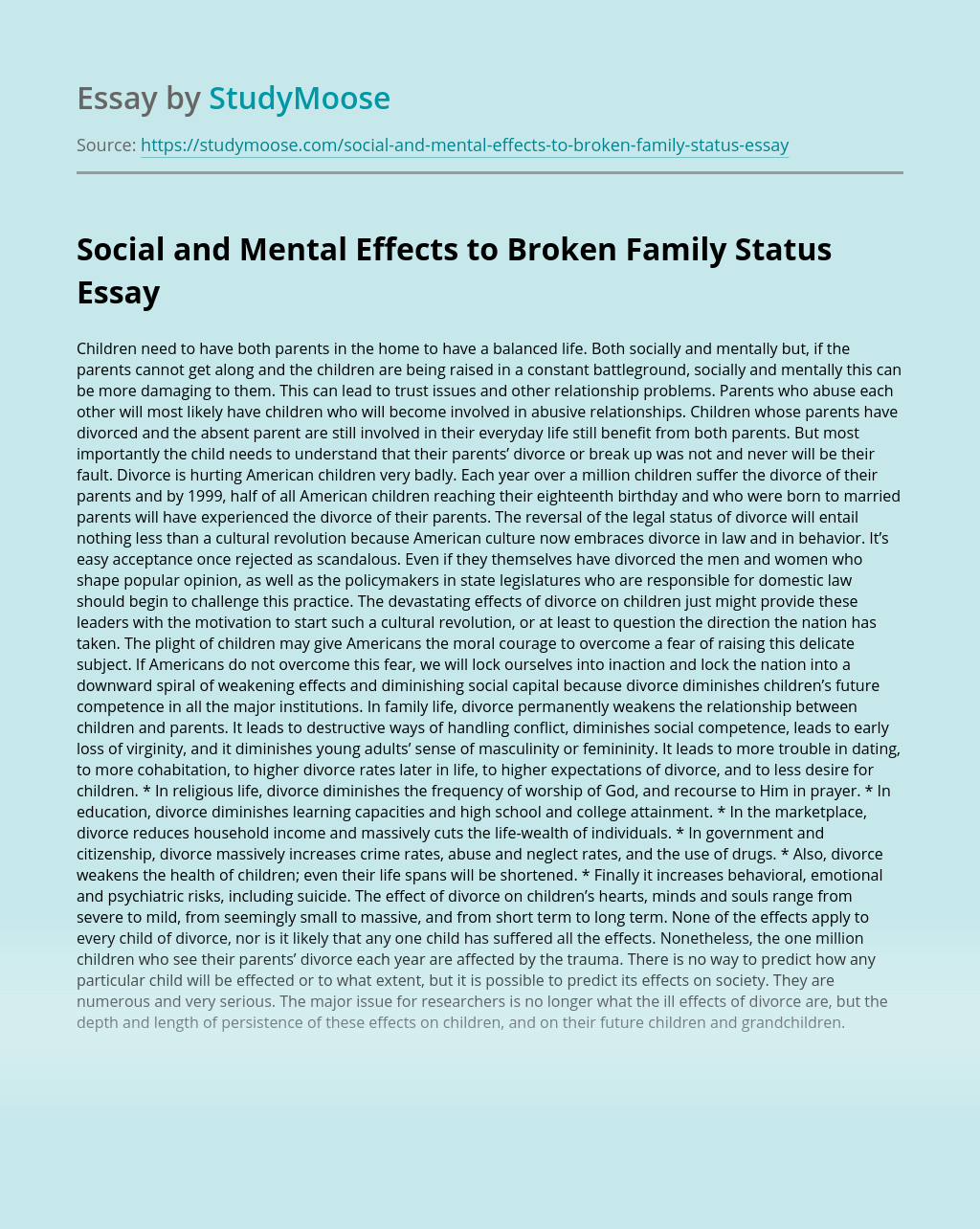 Social and Mental Effects to Broken Family Status