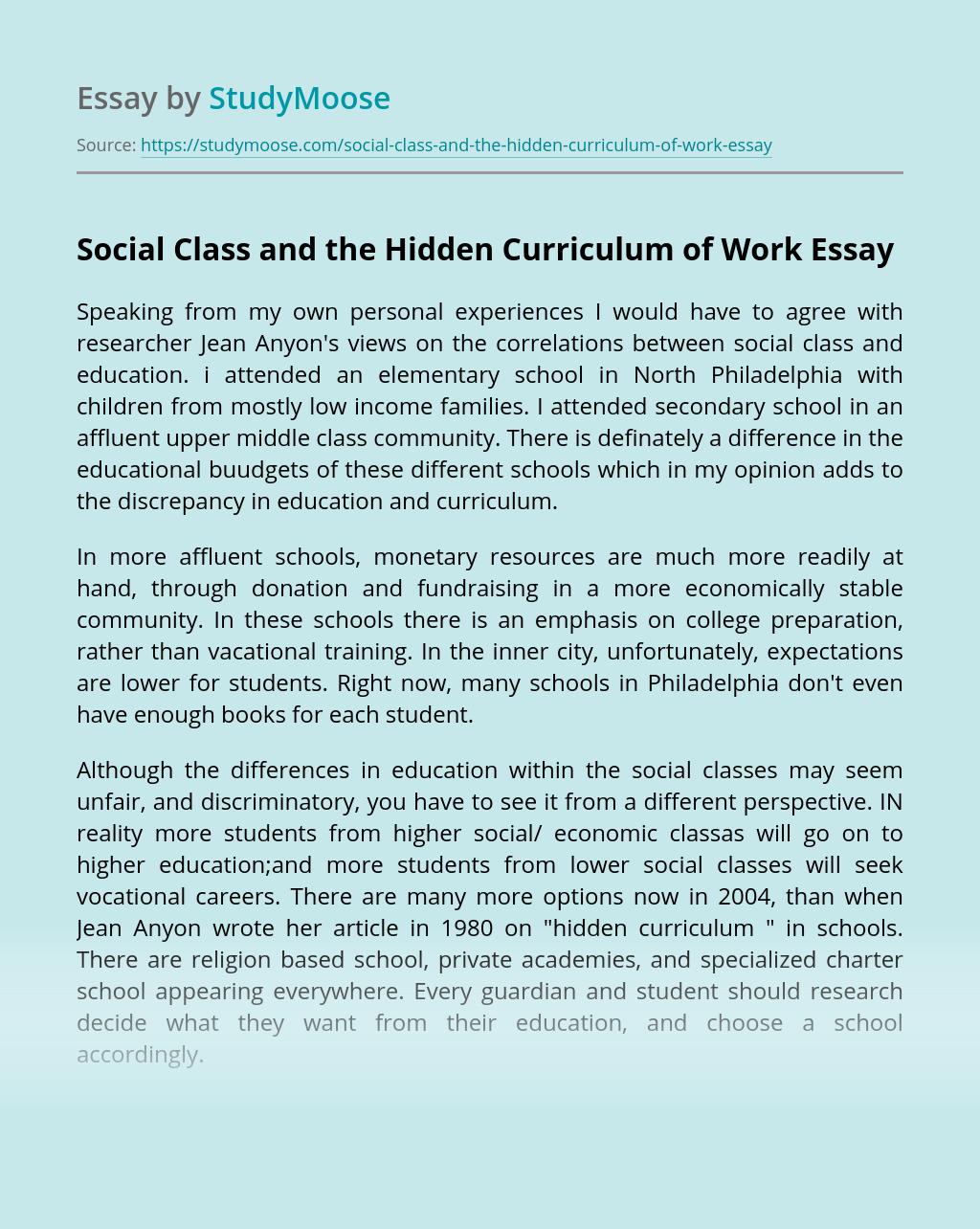 Social Class and the Hidden Curriculum of Work