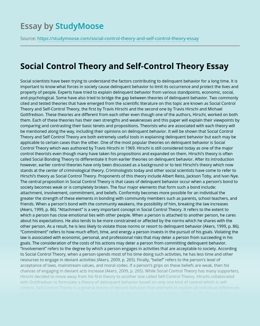 Social Control Theory and Self-Control Theory