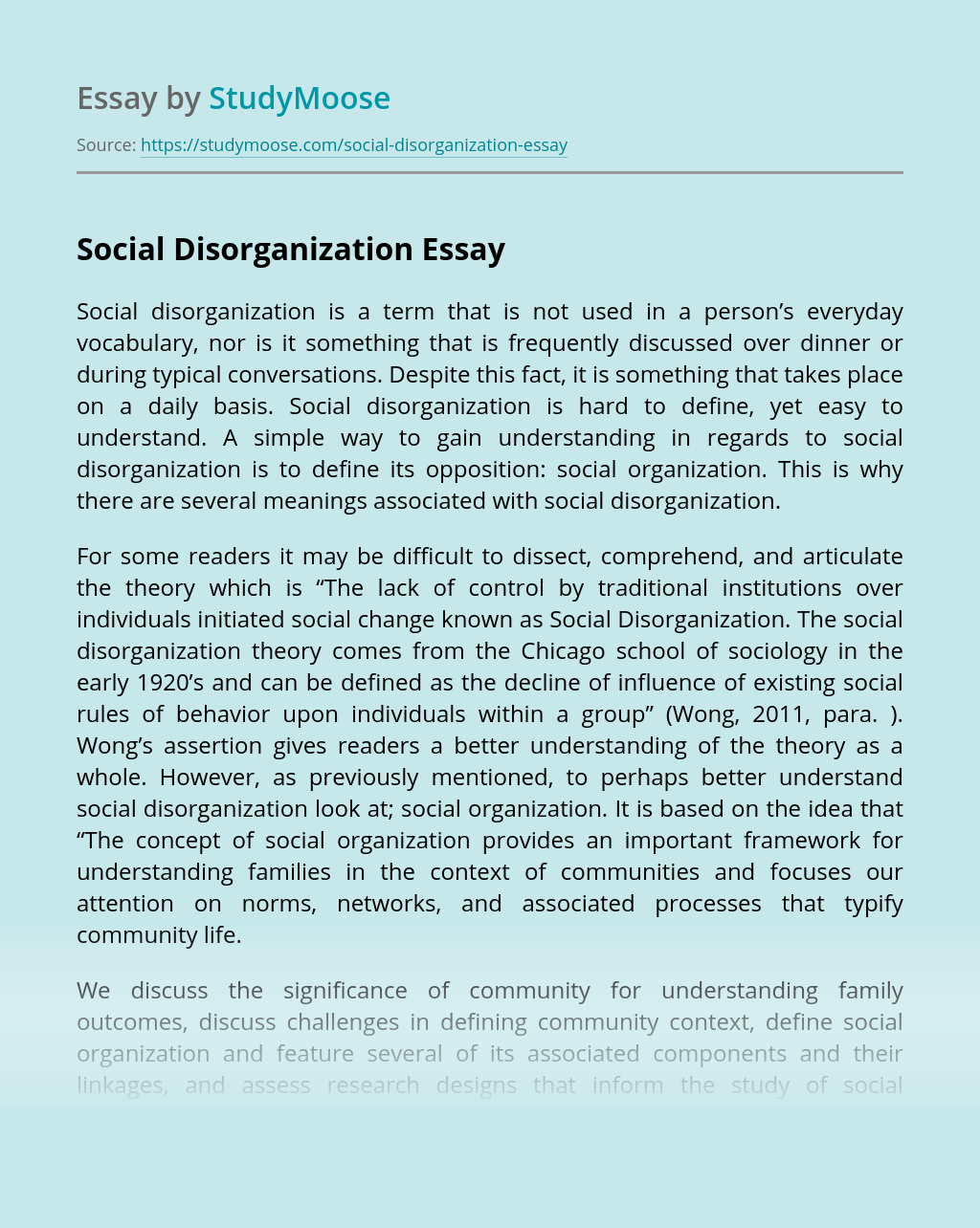 Understanding About Social Disorganization