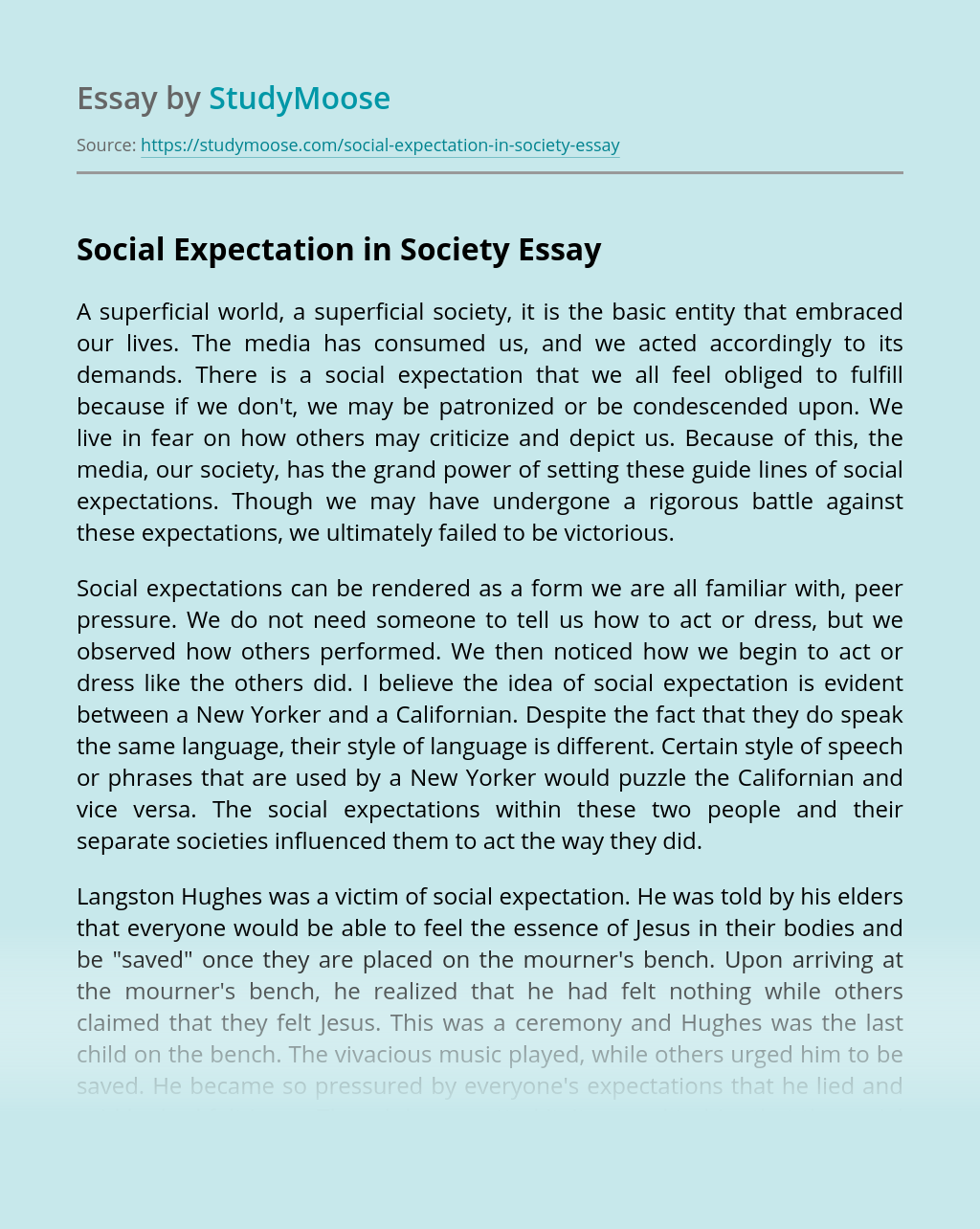 Social Expectation in Society