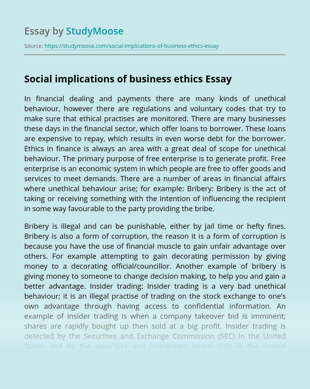 Social implications of business ethics