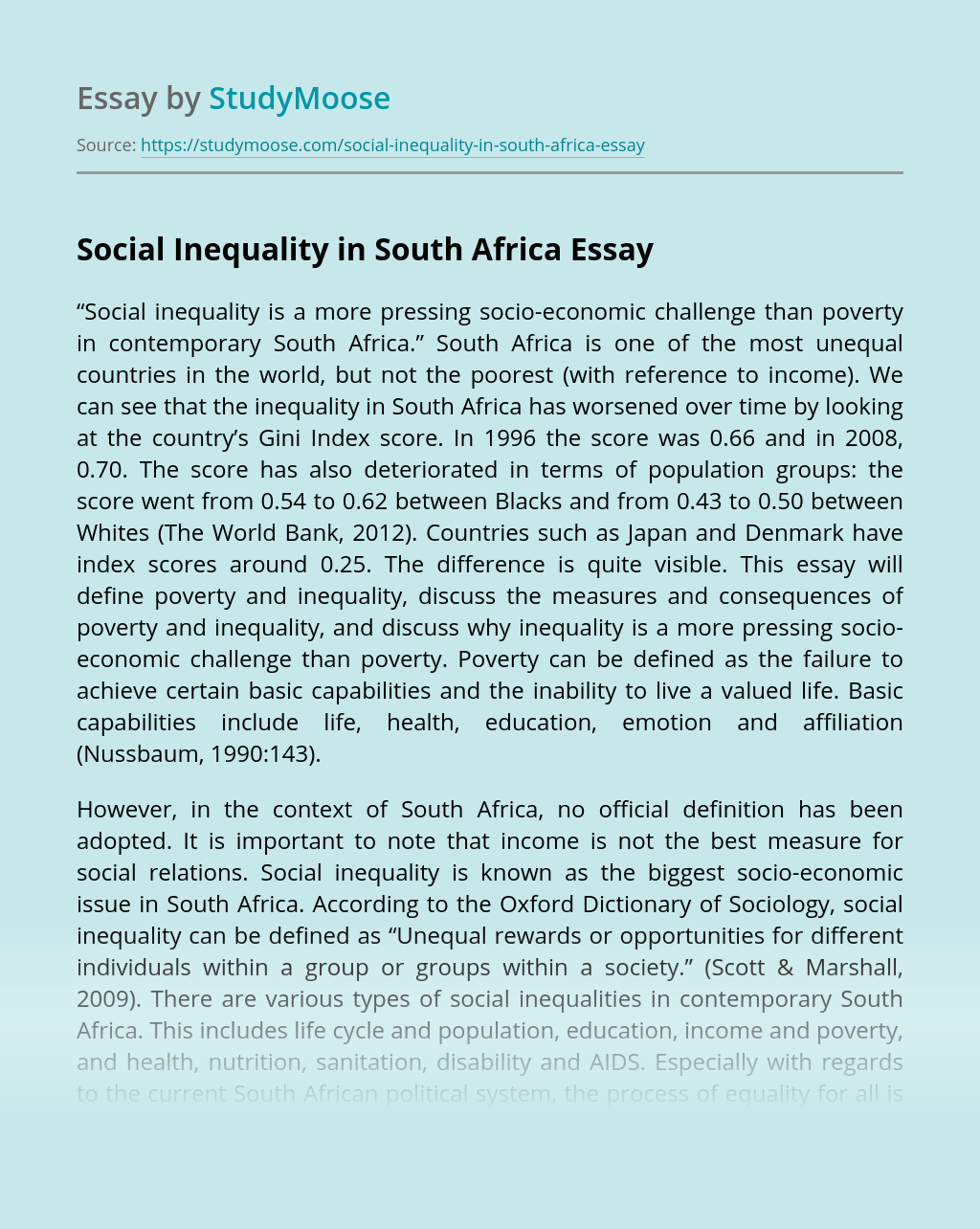 Social Inequality in South Africa