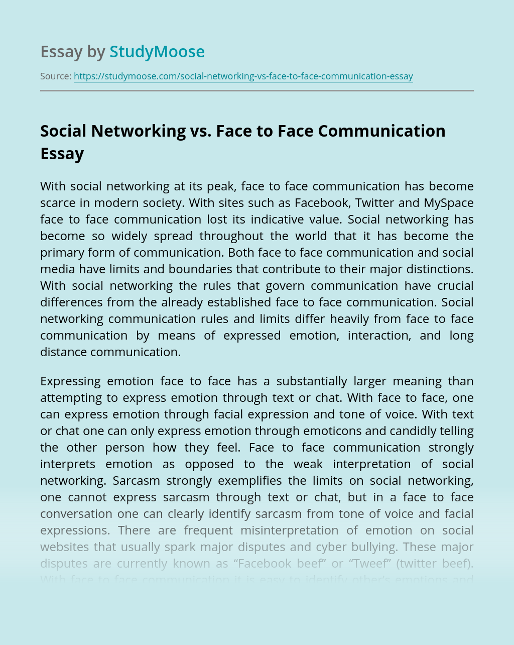 Social Networking vs. Face to Face Communication
