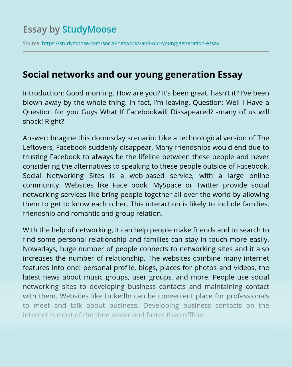 Social networks and our young generation