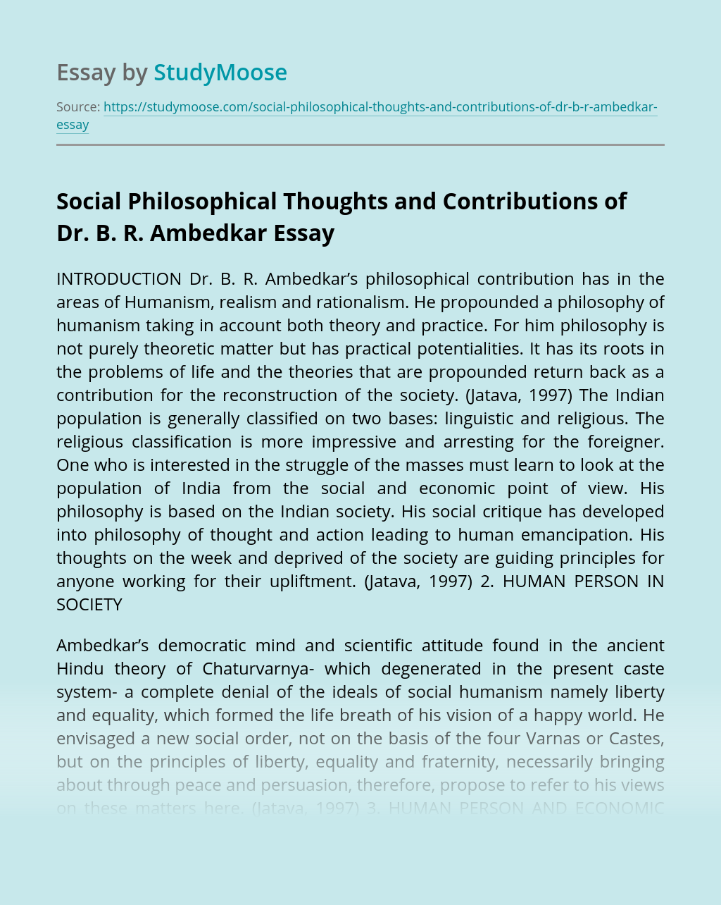 Social Philosophical Thoughts and Contributions of Dr. B. R. Ambedkar