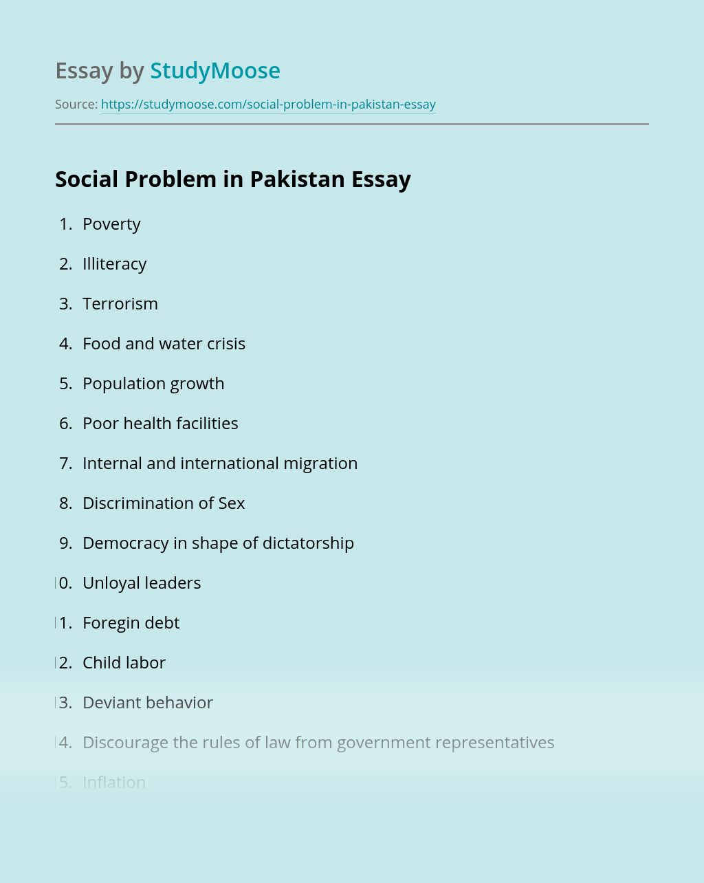 Social Problem in Pakistan