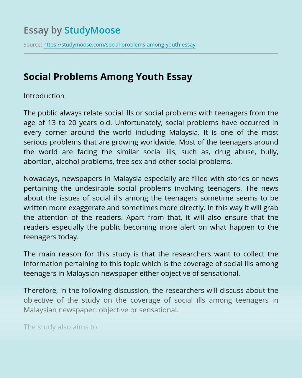 Social Problems Among Youth