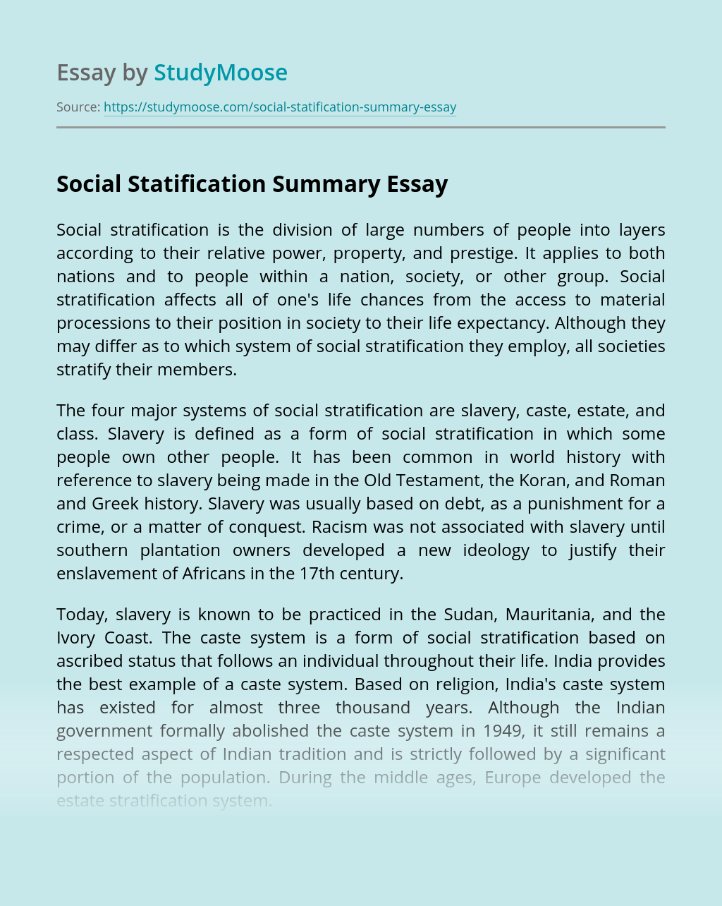 Systems and Theories of Social Statification