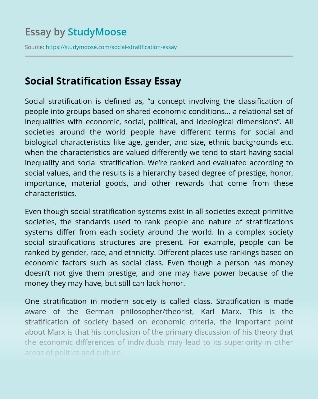 Social Stratification Essay