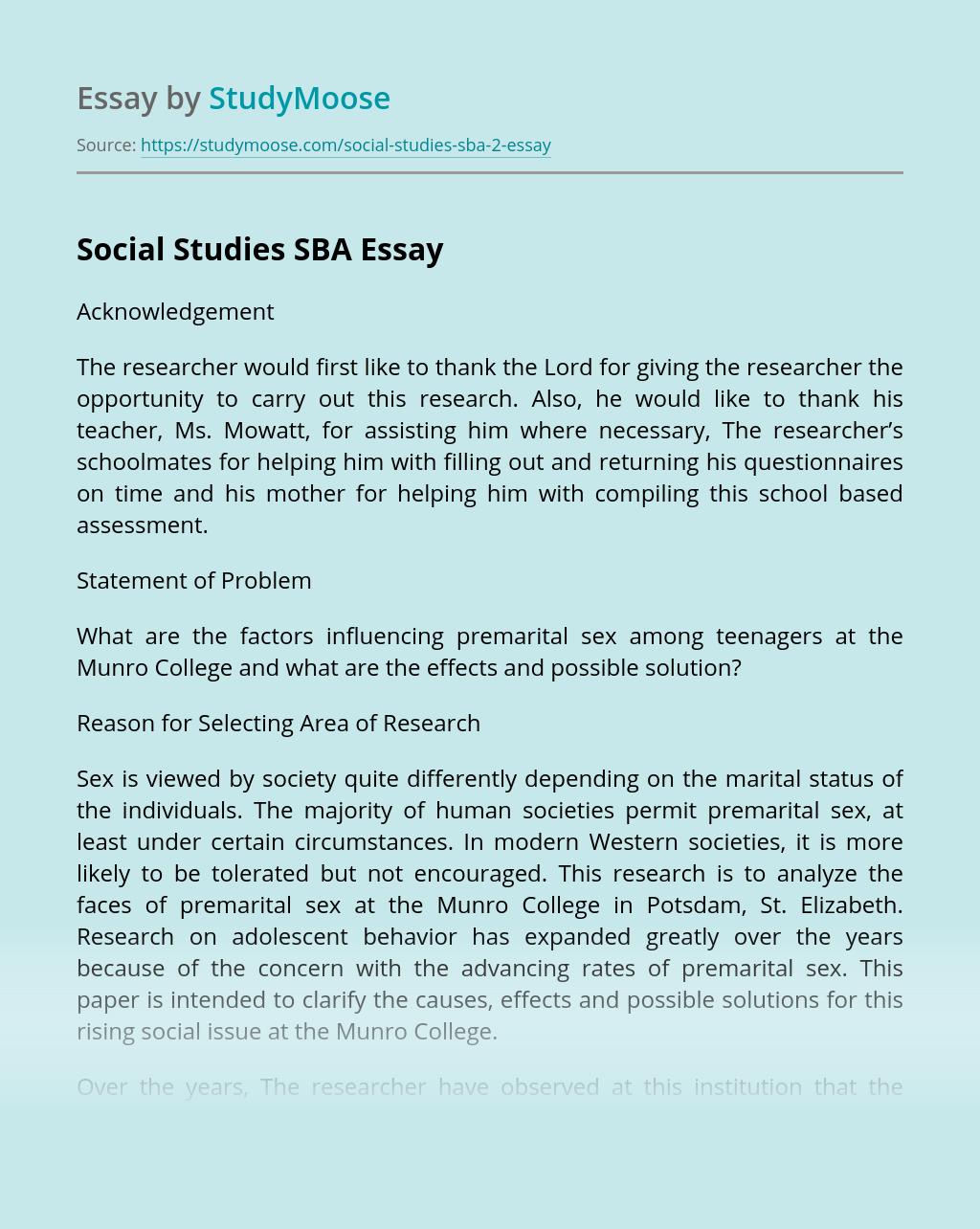 Social Studies SBA