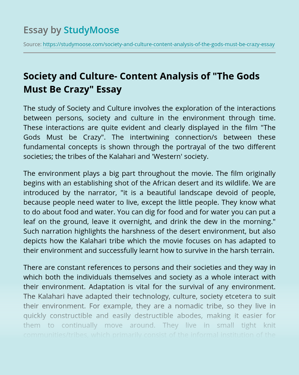 Society and Culture- Content Analysis of