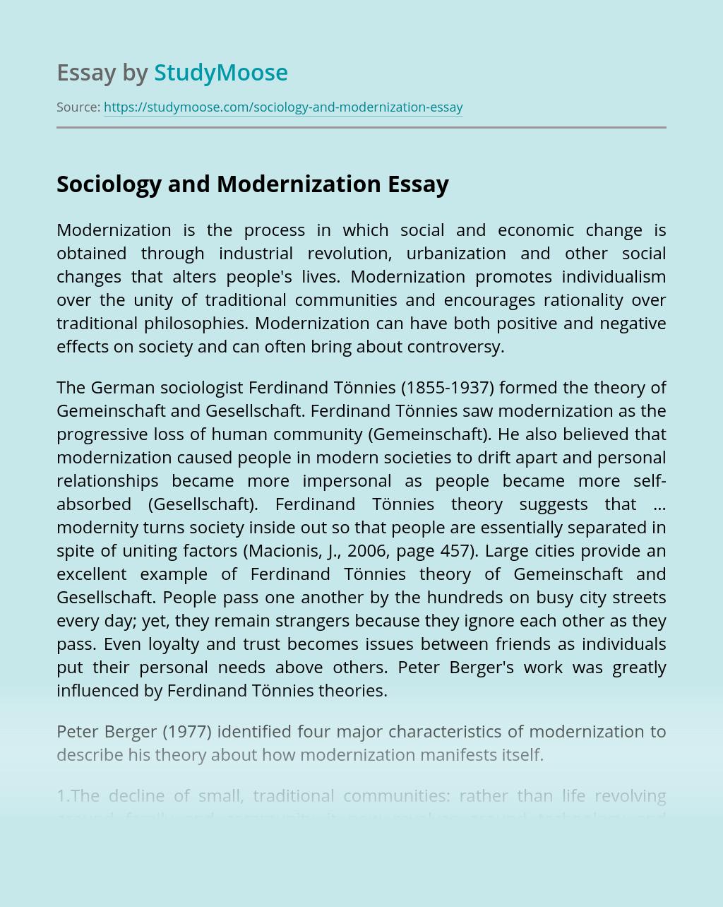 Sociology and Modernization