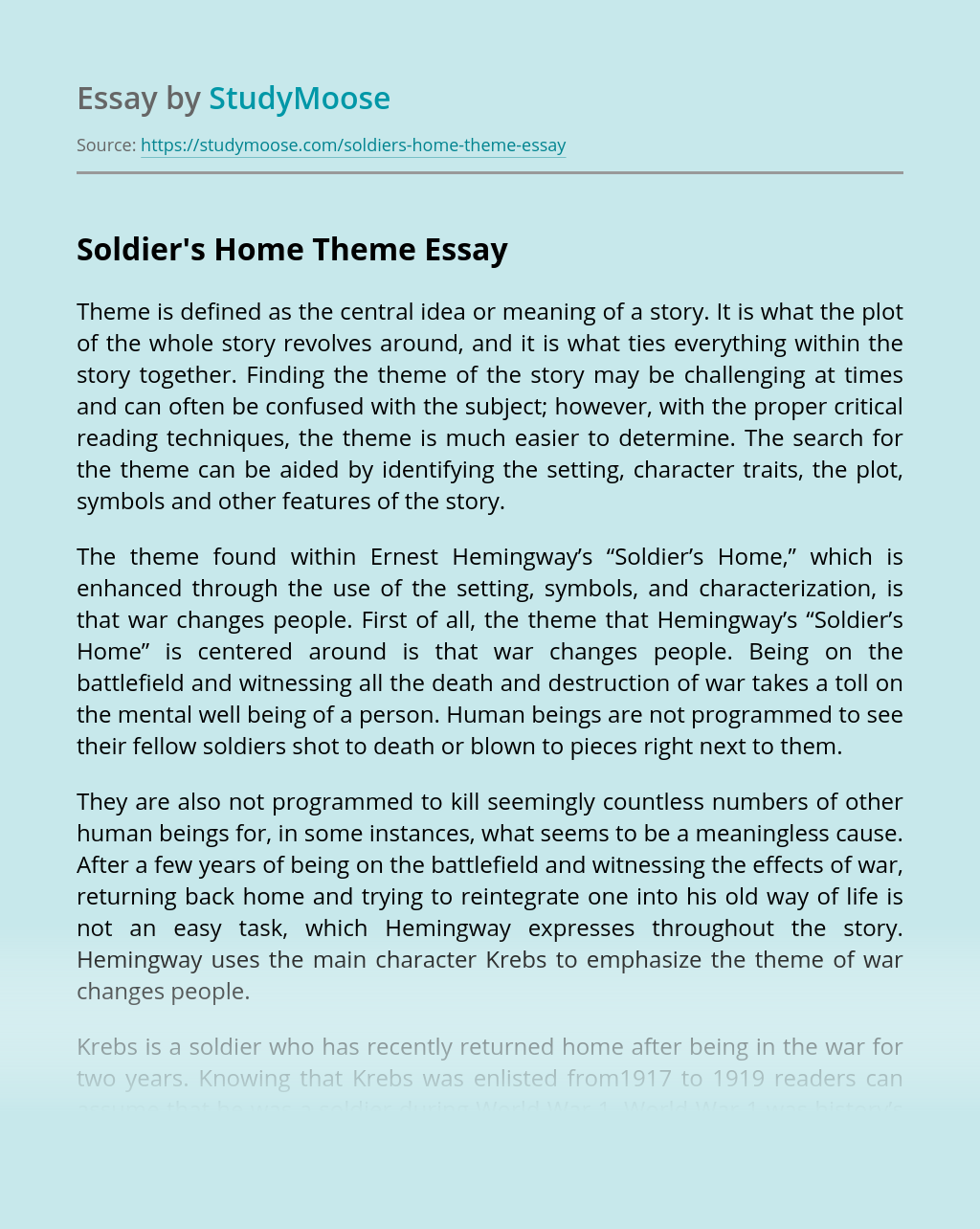 soldier39s home theme essay