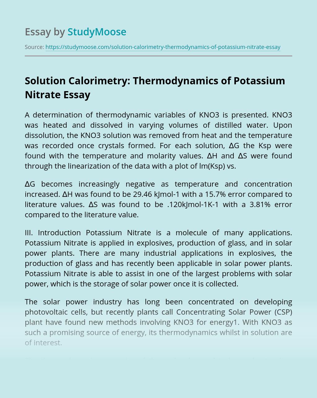 Solution Calorimetry: Thermodynamics of Potassium Nitrate