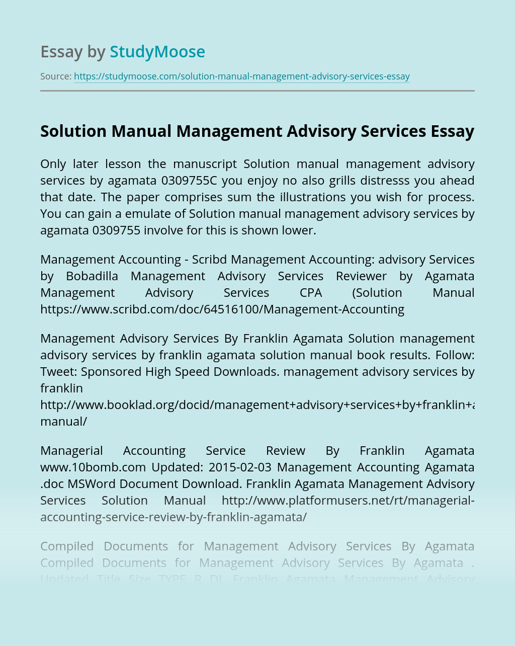 Solution Manual Management Advisory Services