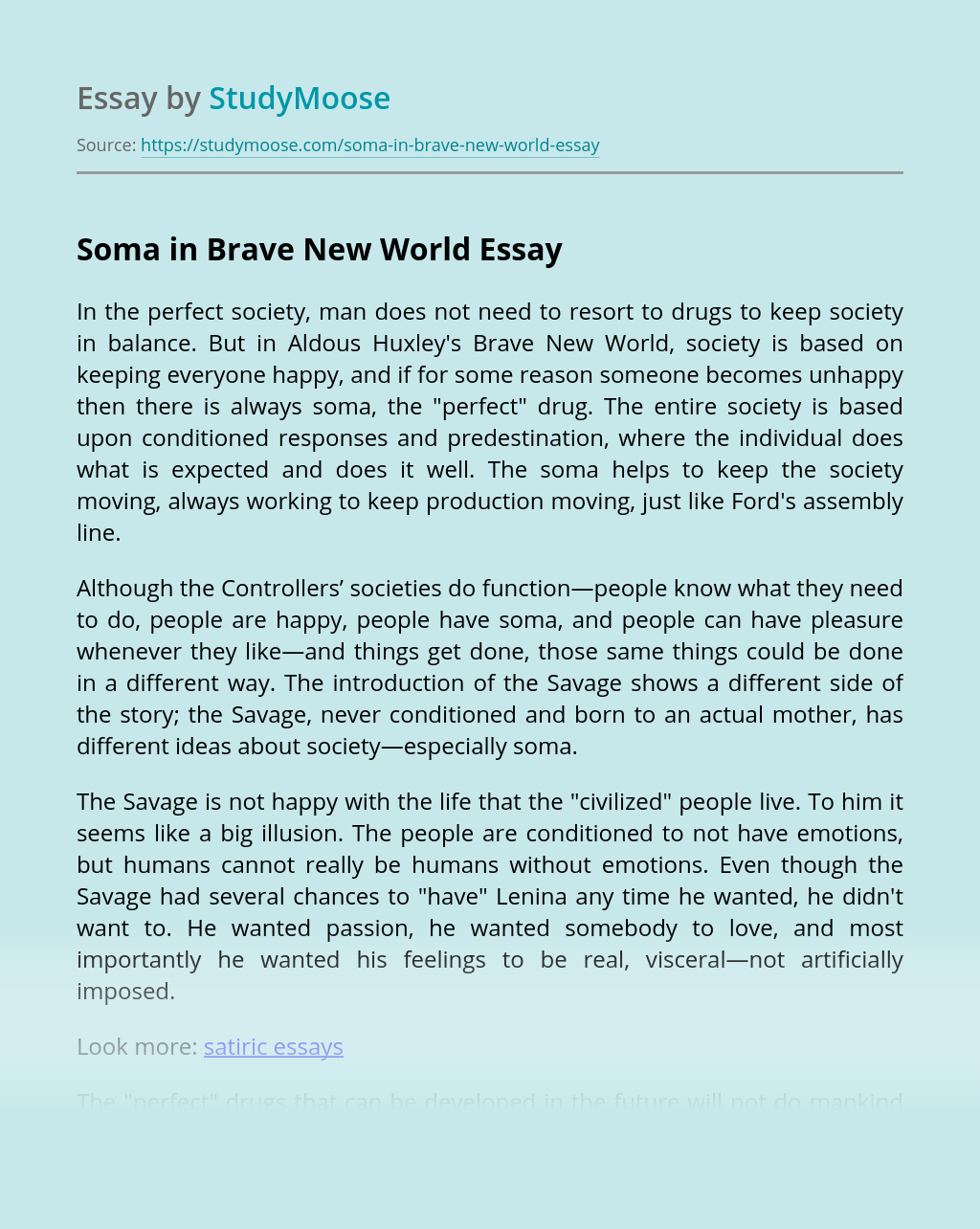 Brave new world essays soma bth software engineering thesis
