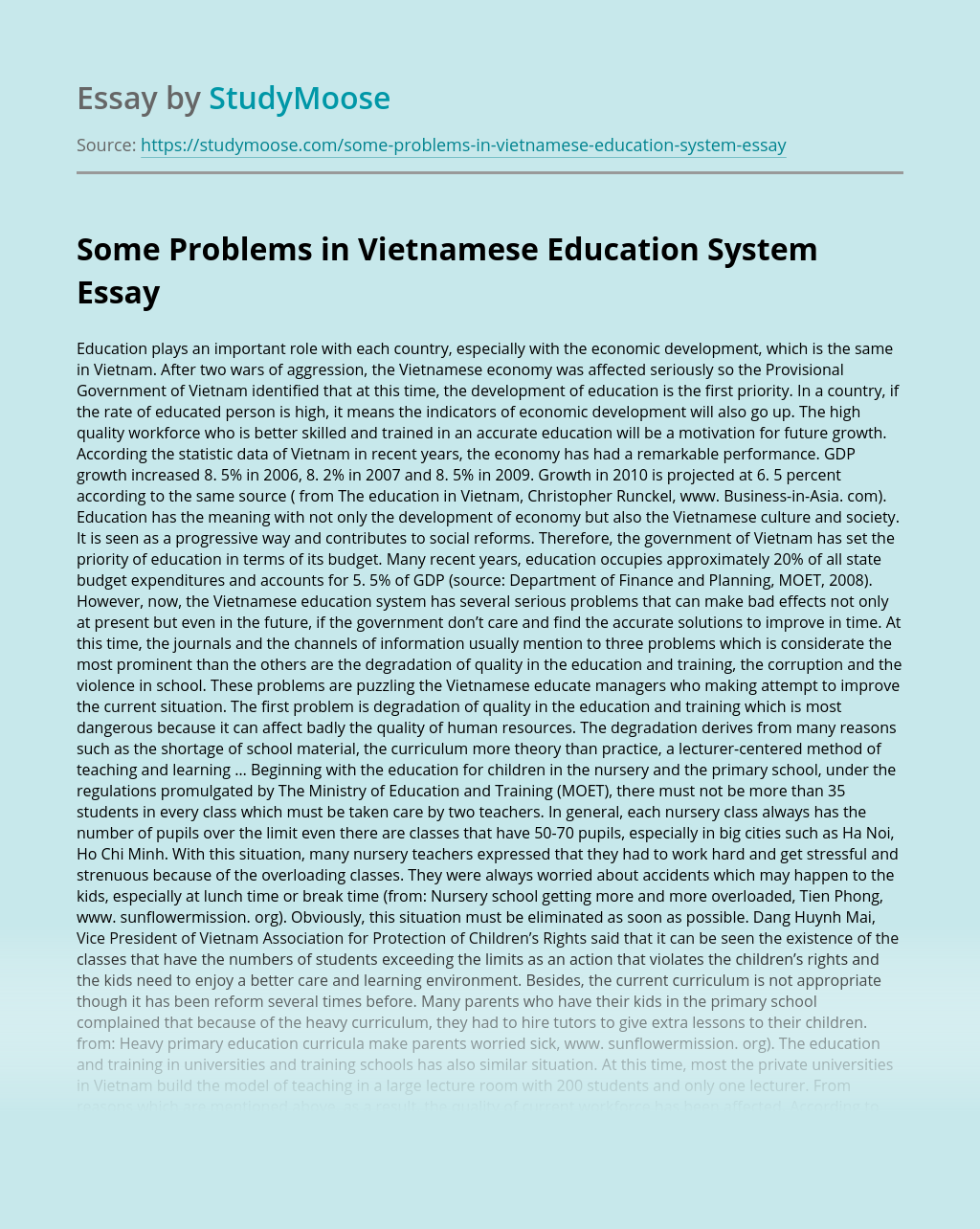 Essays on education system