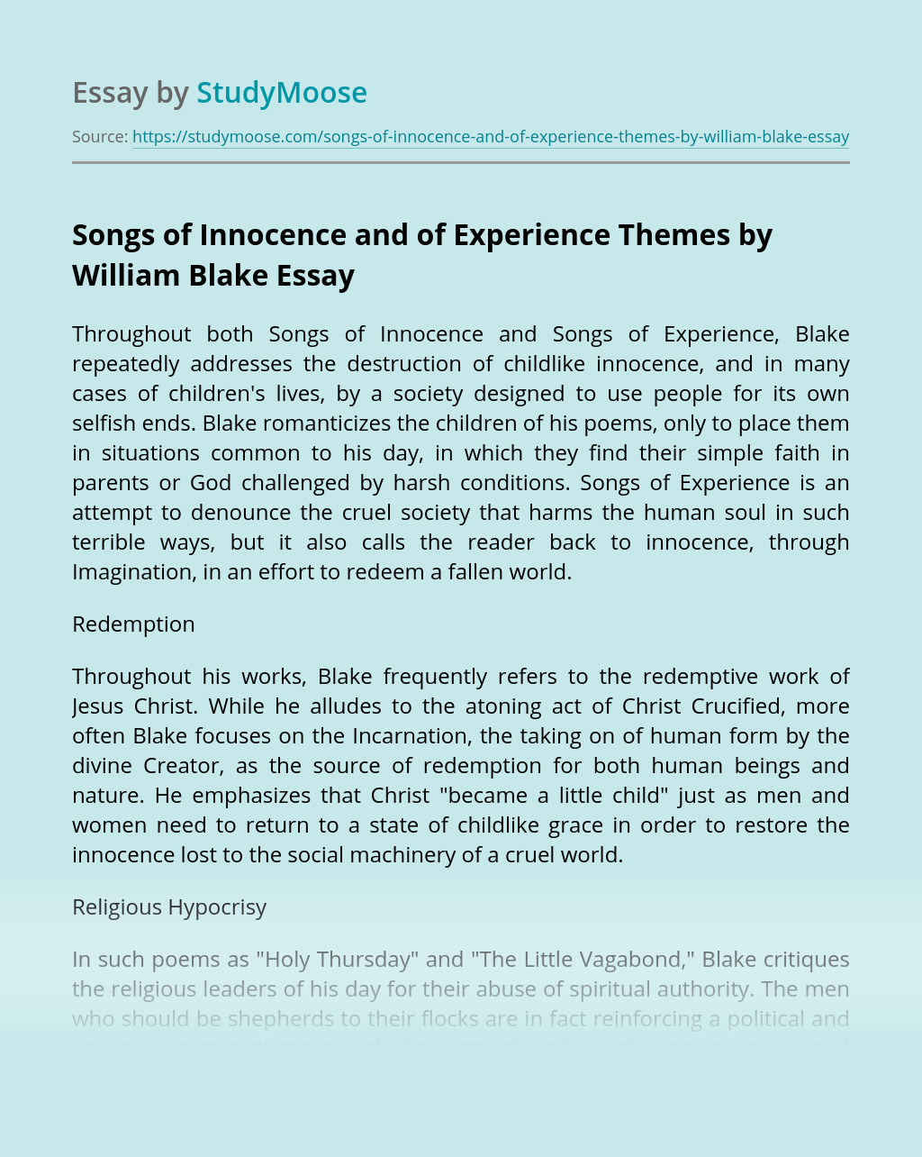 Songs of Innocence and of Experience Themes by William Blake