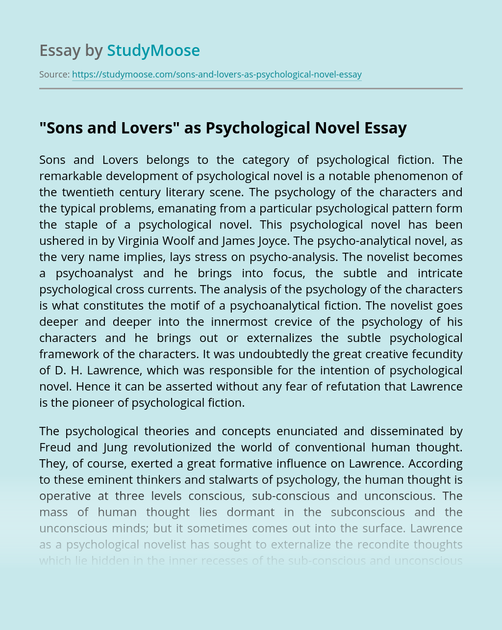 """""""Sons and Lovers"""" as Psychological Novel"""