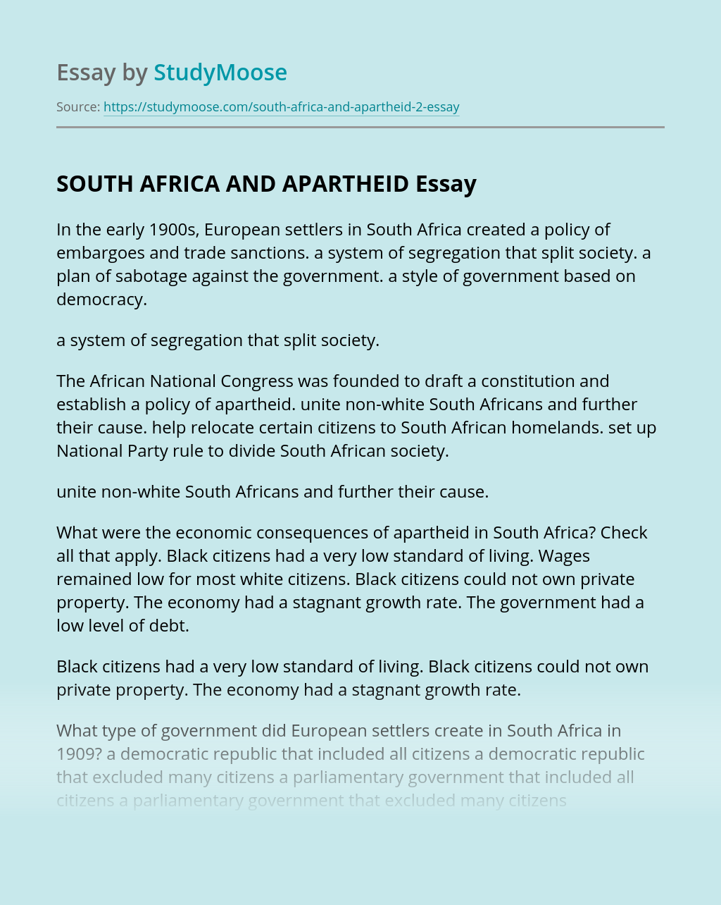 SOUTH AFRICA AND APARTHEID TEST MATERIALS