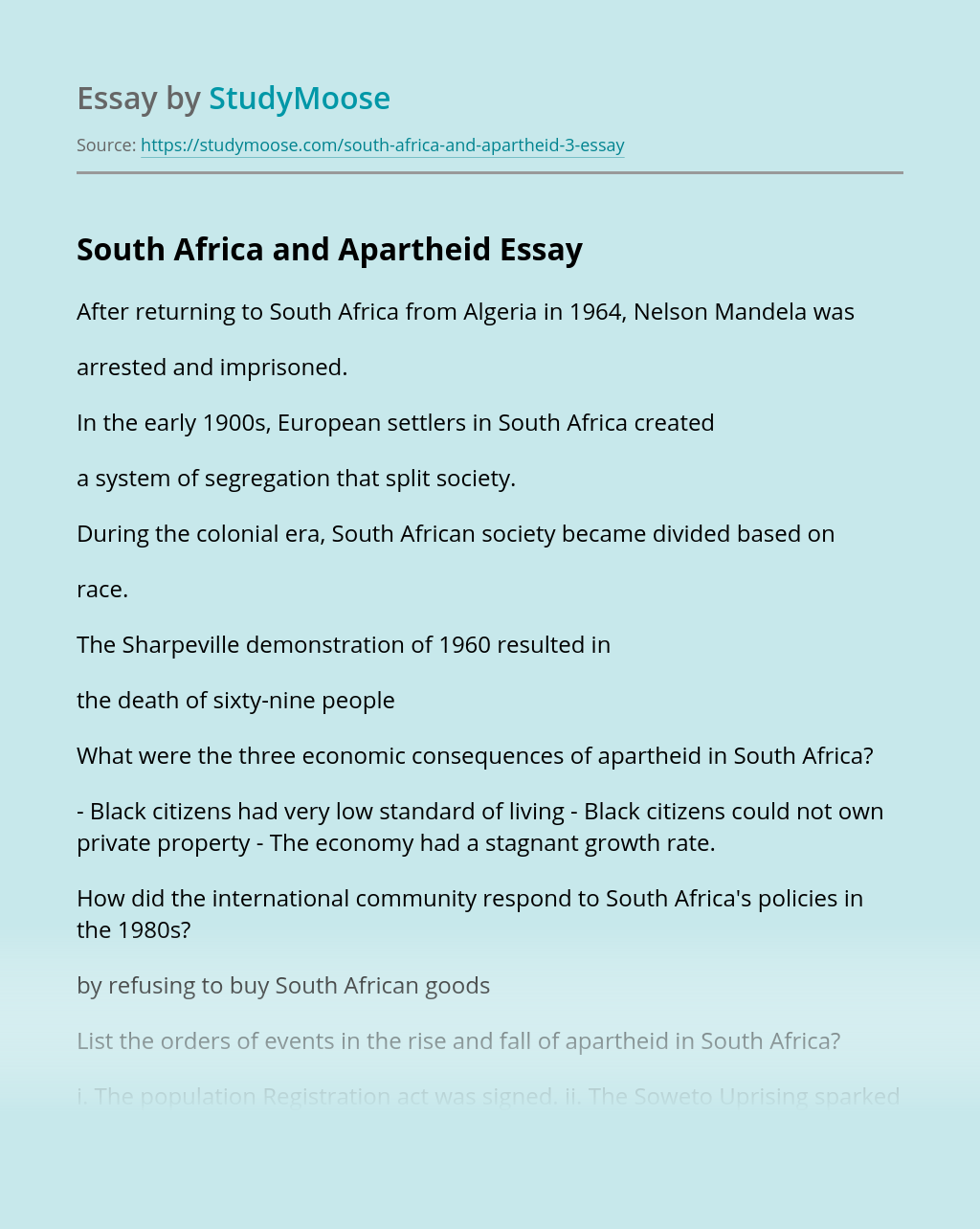 South Africa and Apartheid History Test Answers