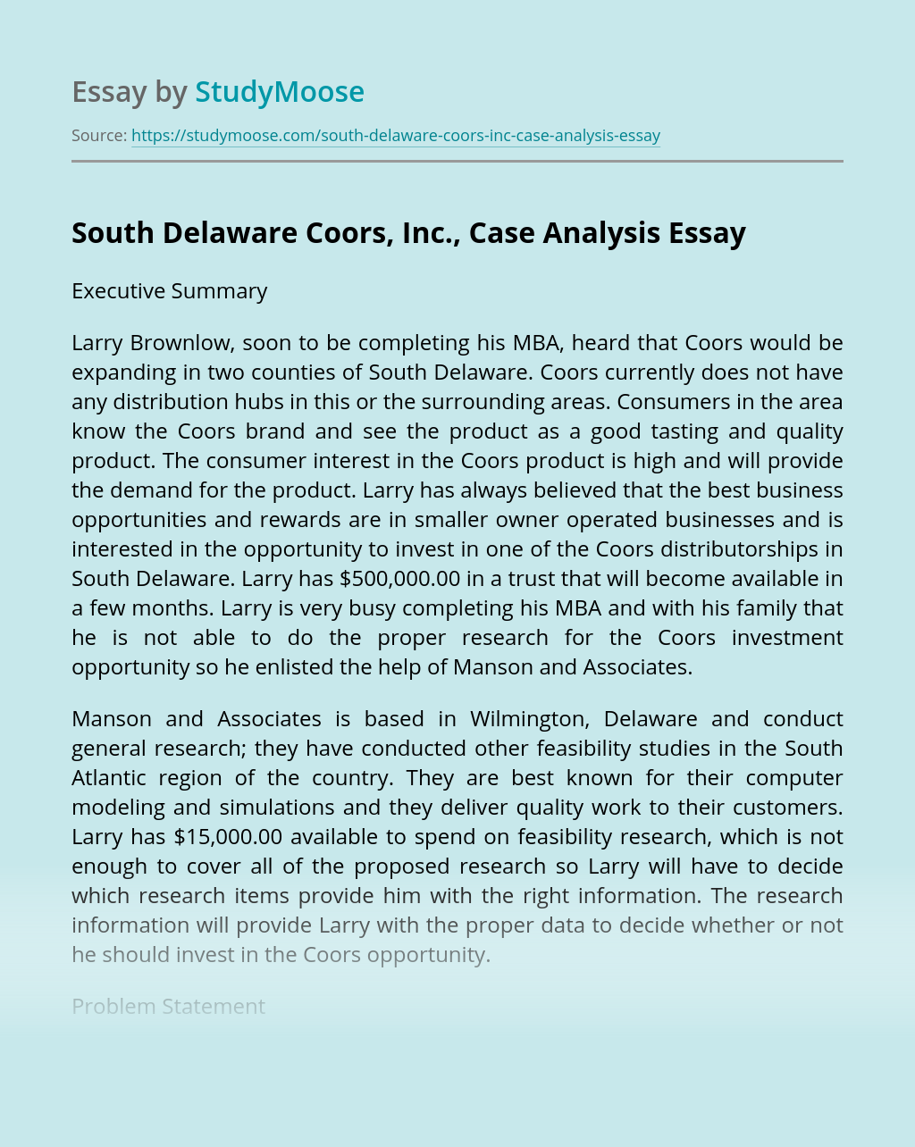 South Delaware Coors, Inc., Case Analysis