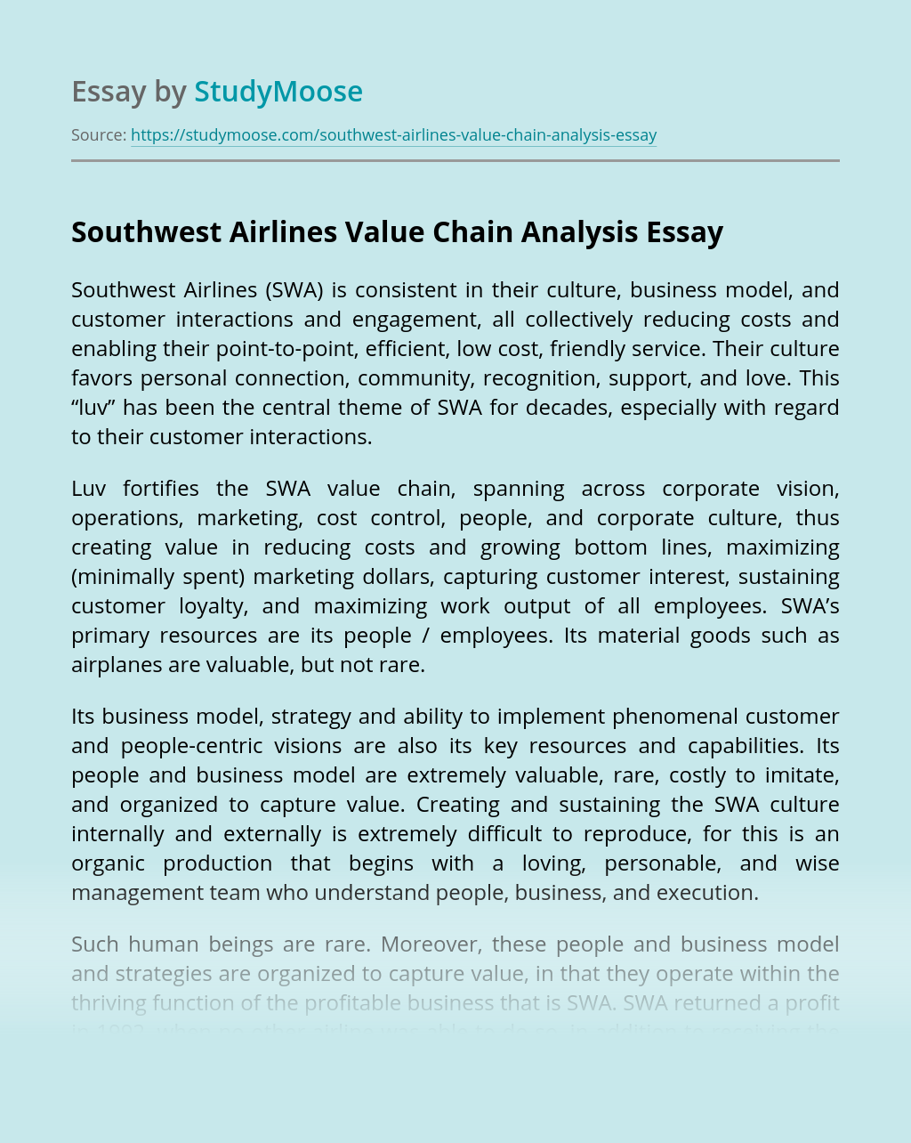 Southwest Airlines Value Chain Analysis
