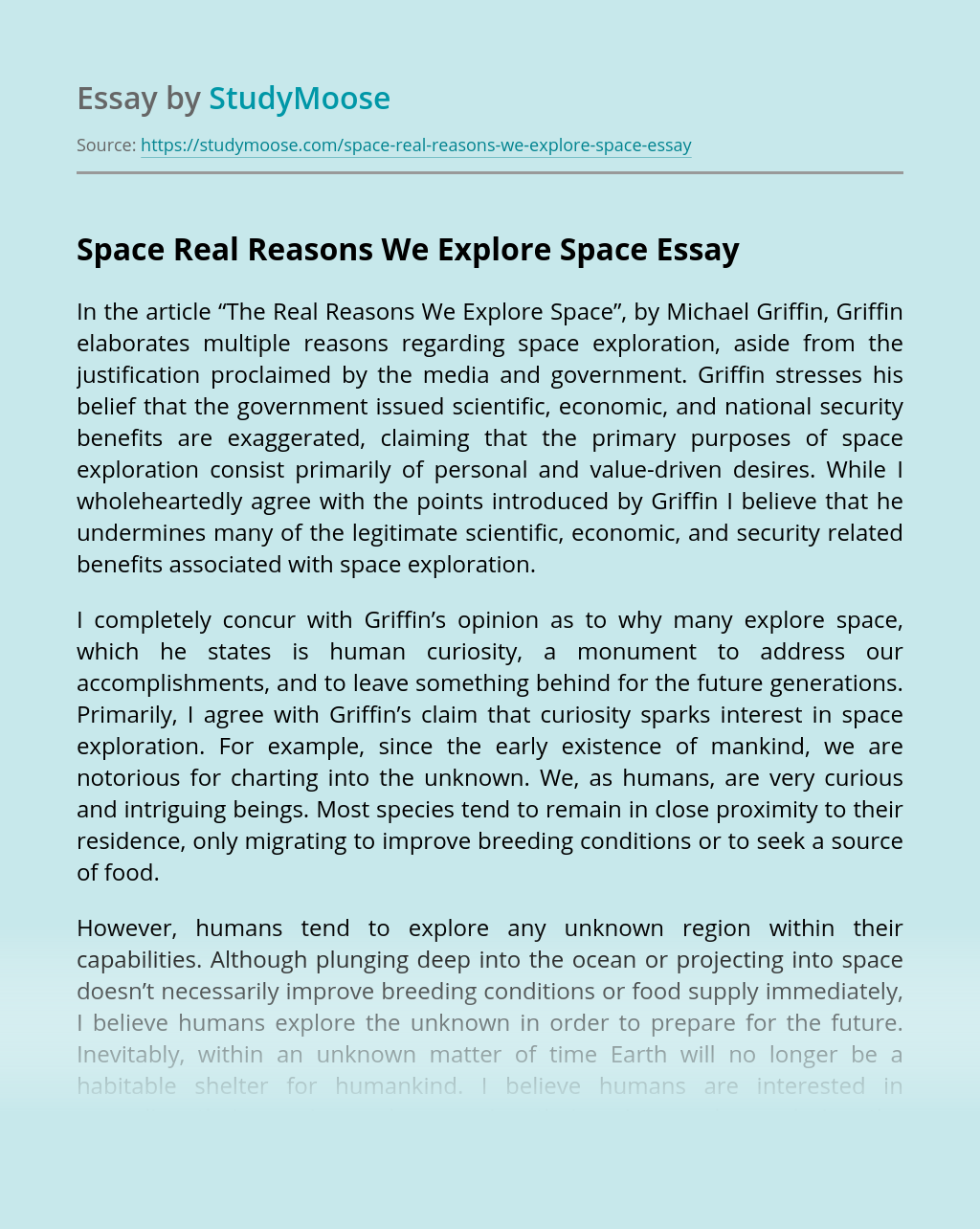 Space Real Reasons We Explore Space