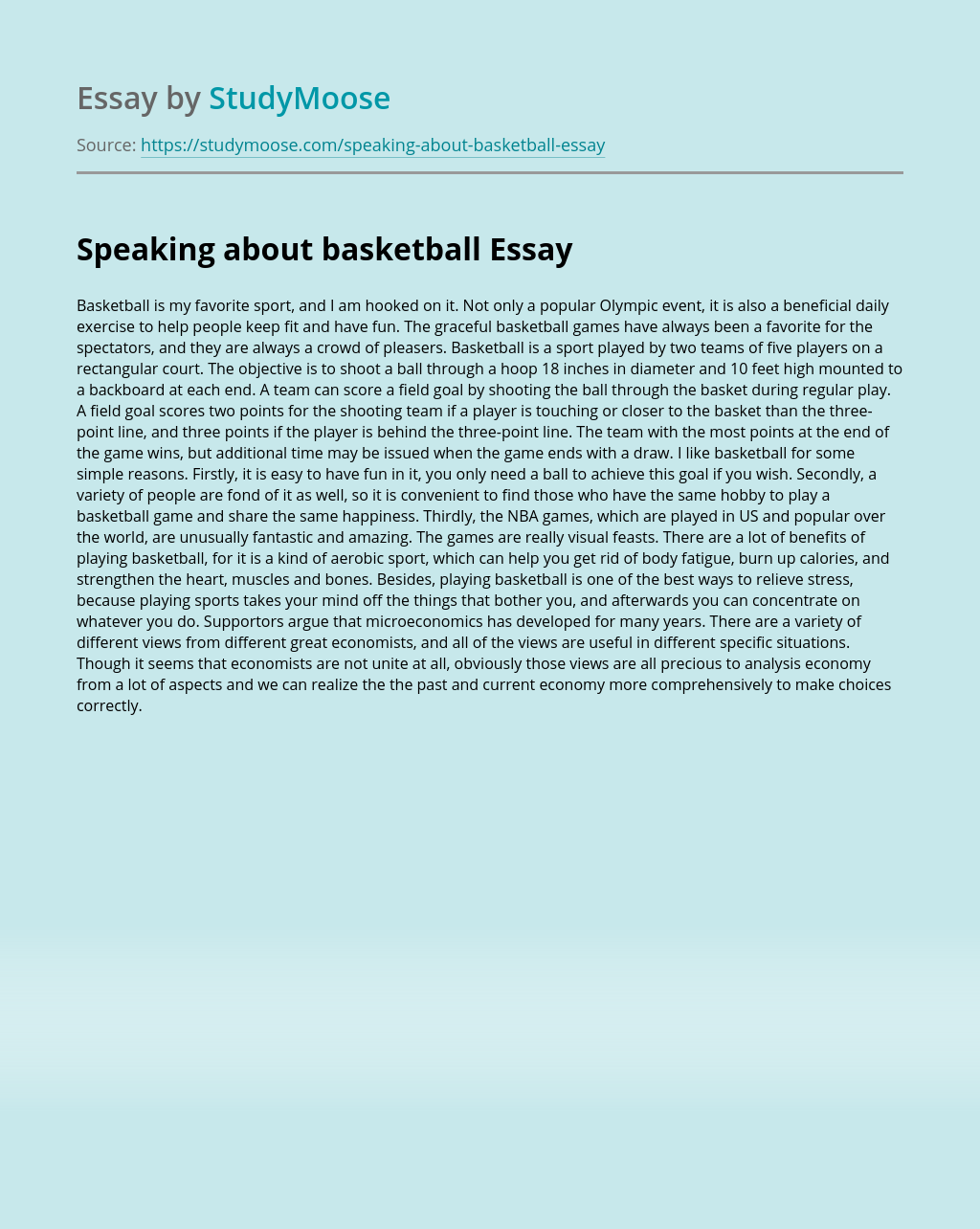 Basketball essay