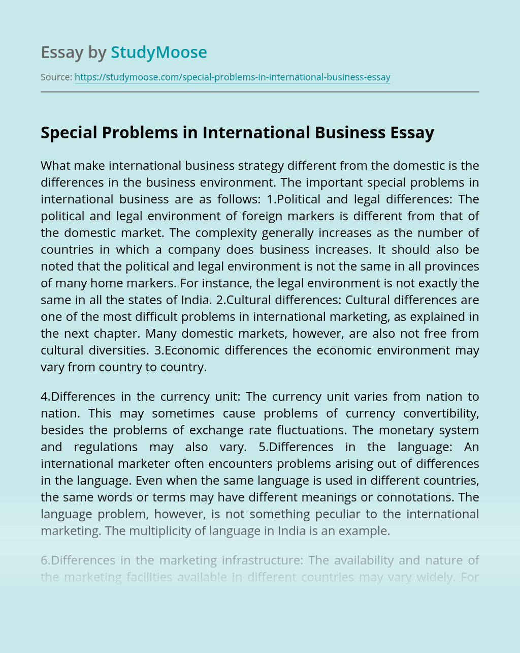 Special Problems in International Business
