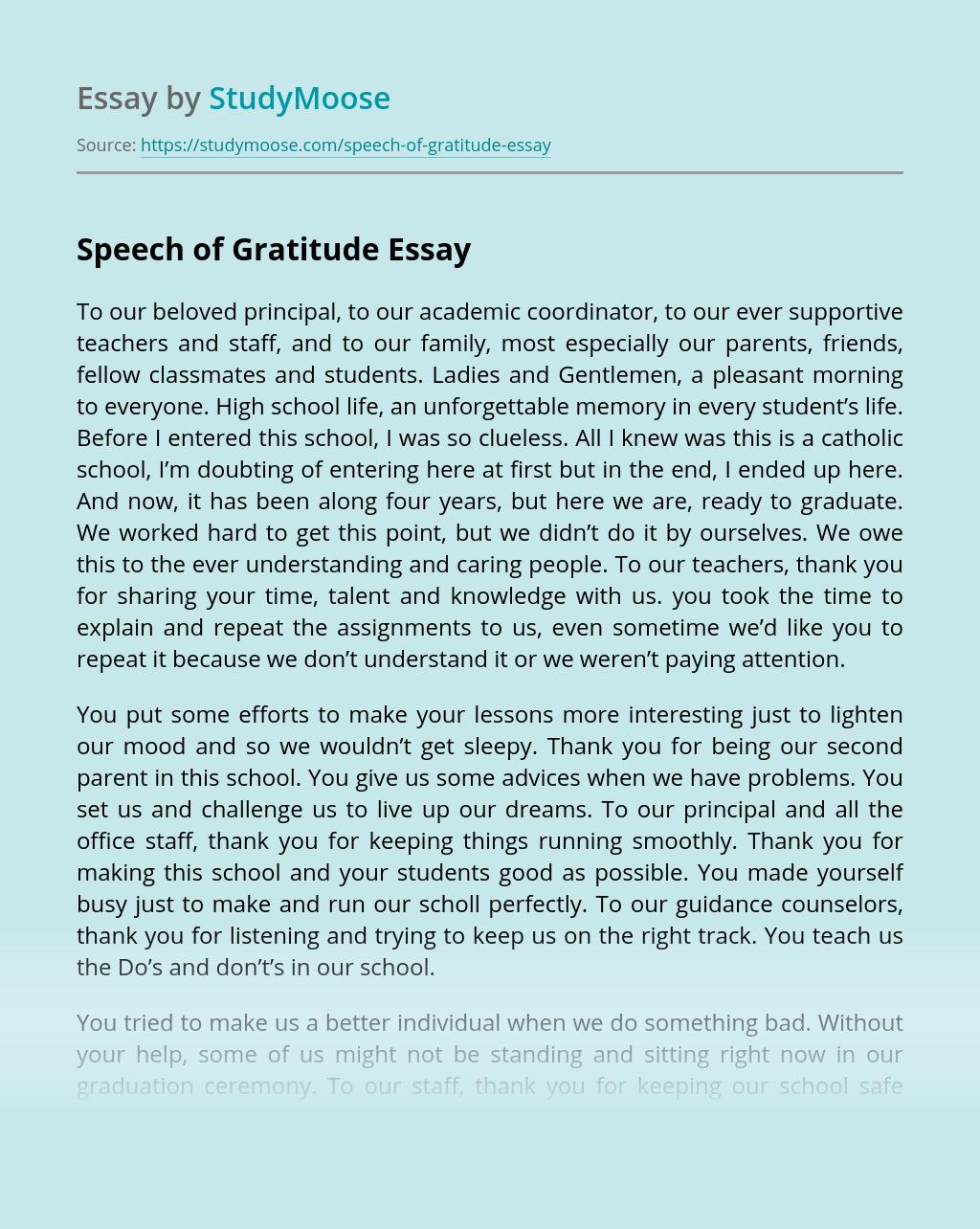 Speech of Gratitude