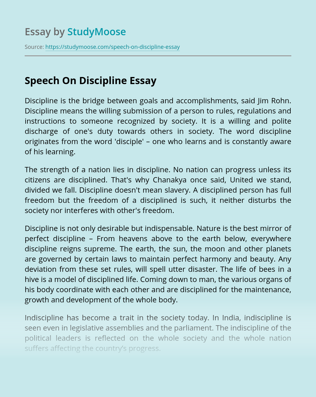 Speech On Discipline