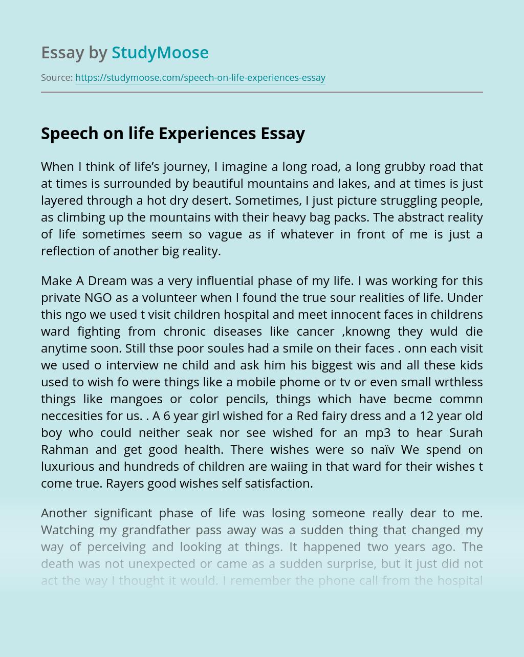 Speech on life Experiences