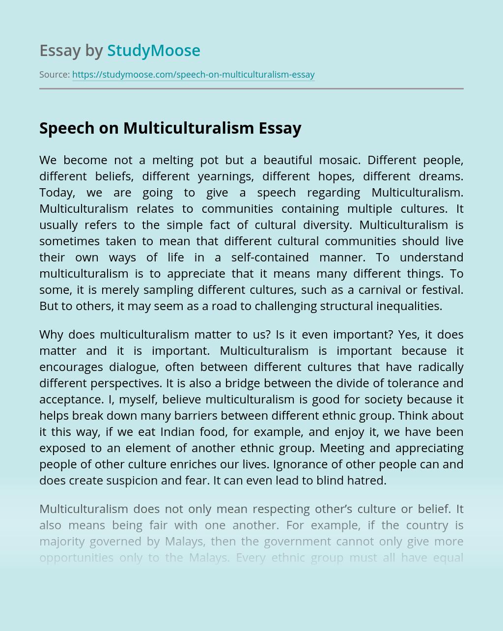 Speech on Multiculturalism