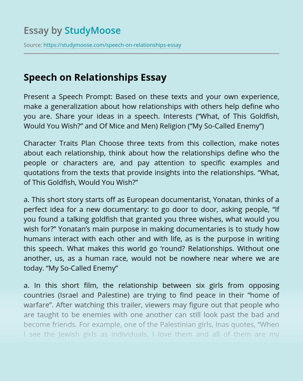 Speech on Relationships