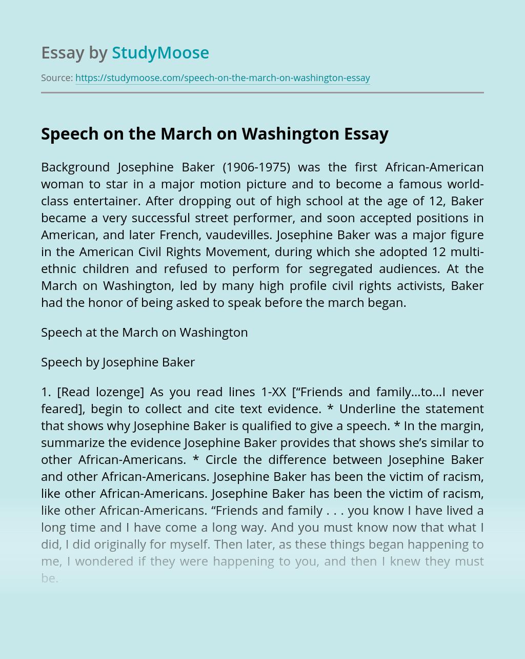Speech on the March on Washington