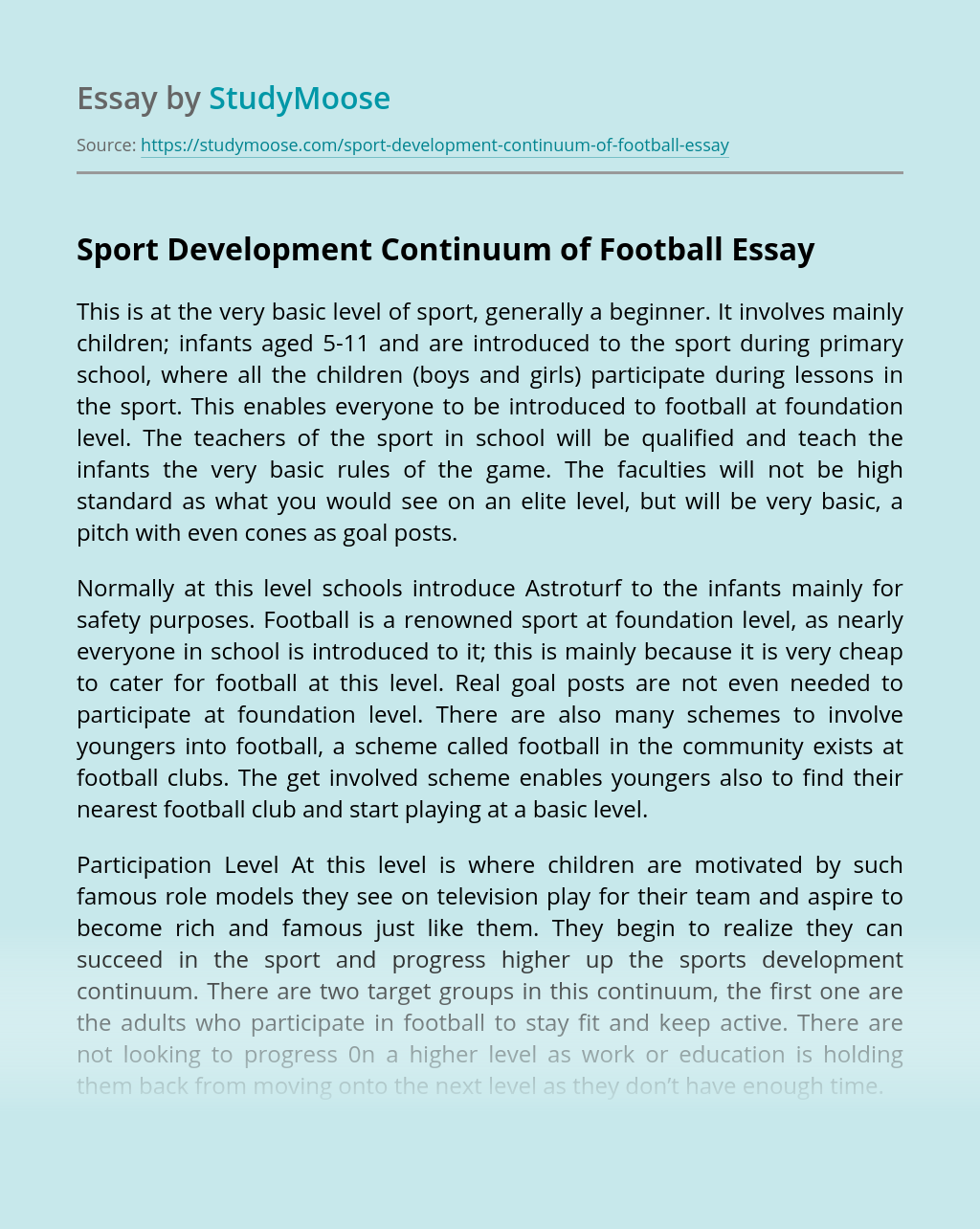 Sport Development Continuum of Football