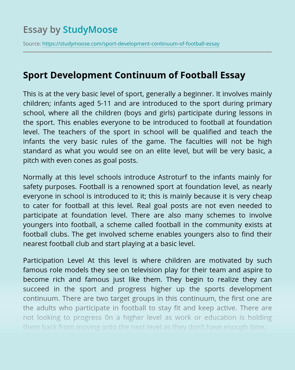 Sport Development Continuum of Football