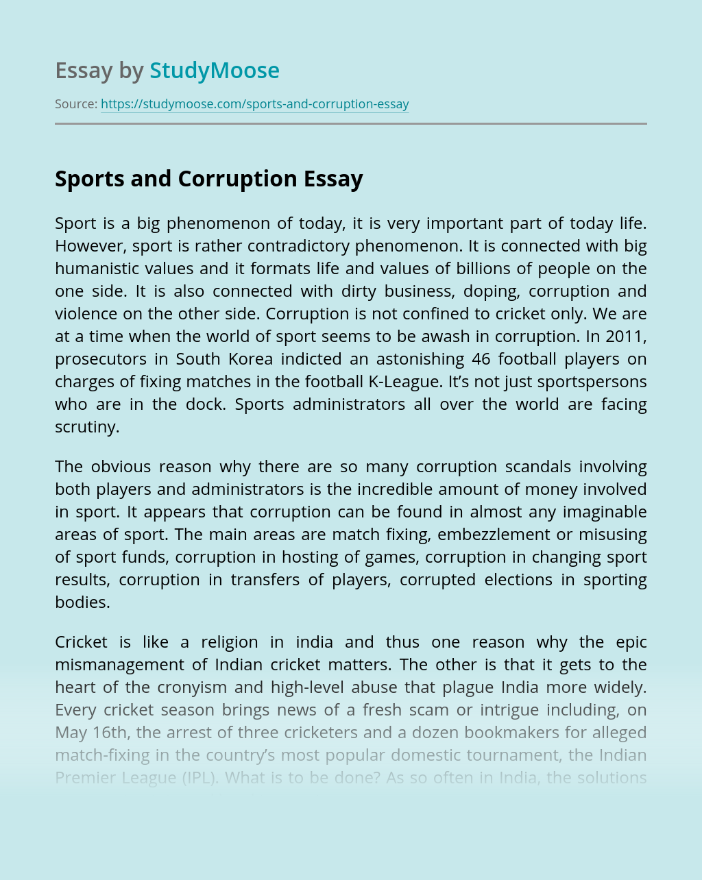 Sports and Corruption